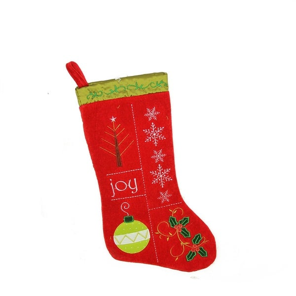 "19"" Traditional ""Joy"" Red and Green Embroidered Cuffless Christmas Stocking"