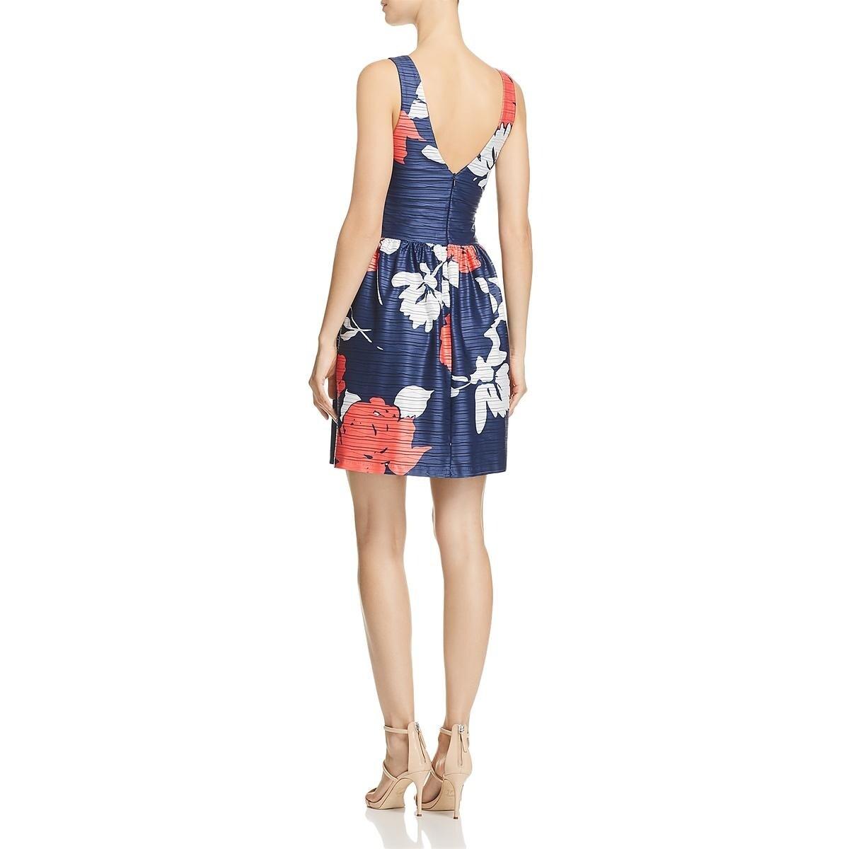 Aqua Womens Floral Fit /& Flare V Neck Casual Dress BHFO 5636