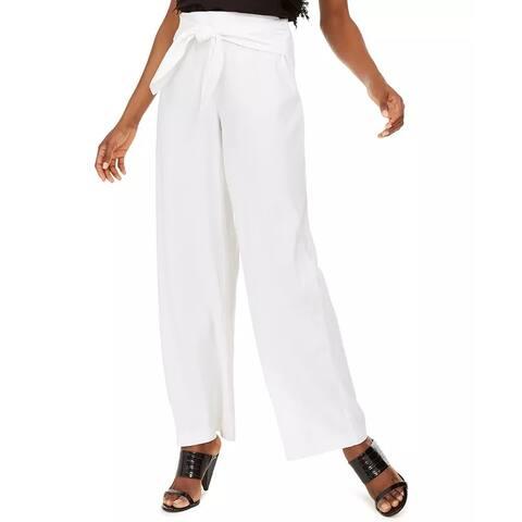 INC International Concepts Women's Wide-Leg Tie-Front Linen-Blend Pants White Size 4