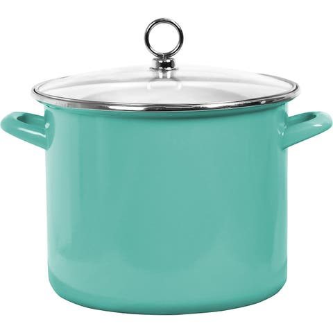 Calypso Basics by Reston Lloyd Enamel on Steel Stockpot with Glass Lid, 8-Quart, Turquoise