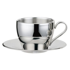 Visol VAC221 Capuccino Stainless Steel Double Walled Cup With Saucer