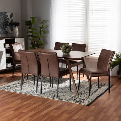 Gerard Modern Upholstered and Metal with Walnut Wood 7-PC Dining Set