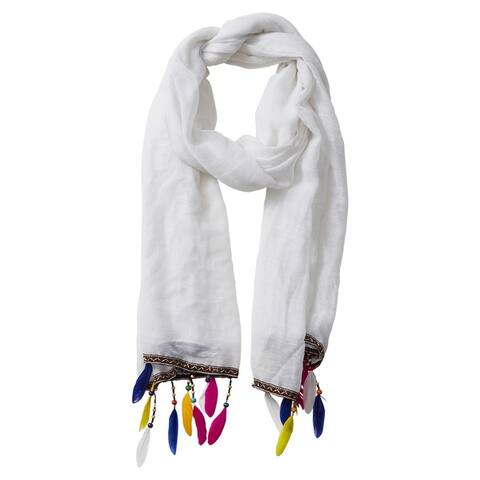Tickled Pink Summer Boho Feather Fringe Scarf - White