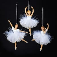 """Pack of 12 White and Silver Ballerina with Feather Tutu Christmas Ornaments 6"""""""