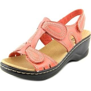 Clarks Narrative Lexi Walnut Women  Open Toe Leather Pink Wedge Sandal