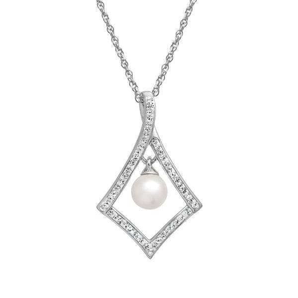Crystaluxe Drop Pendant with Swarovski Elements Crystal Simulated Pearl & Crystal in Sterling Silver - White