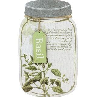 "14.25"" Decorative Basil Herb Mason Jar Wall Hanging Plaque"