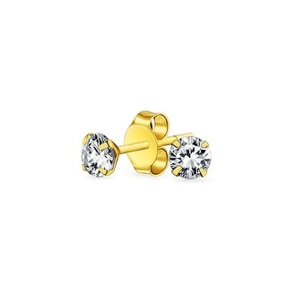 Bling Jewelry Round CZ Small Stud earrings 14K Gold 2mm
