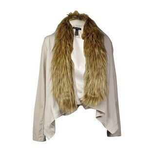 INC International Concepts Women's Faux Fur Mix-Media Jacket - dreamy chalk