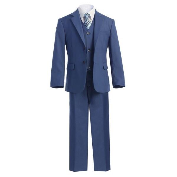 Boys Blue Jacket Shirt Vest Clip On Tie Pants 5 Pc Suit Set 8-18
