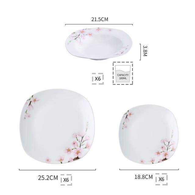 VEWEET 'Annie' Floral Dinnerware Set (Service for 6)