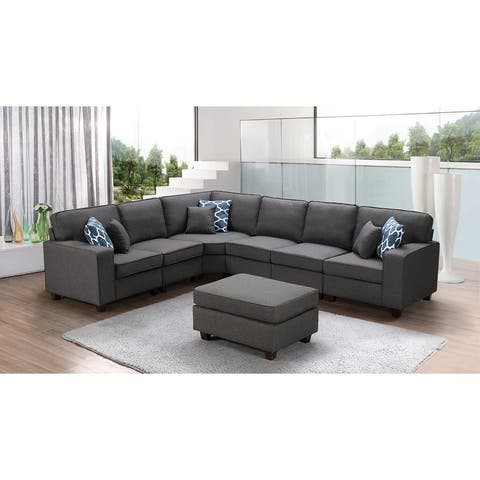Casanova Dark Gray Linen 7Pc Modular Sectional Sofa and Ottoman