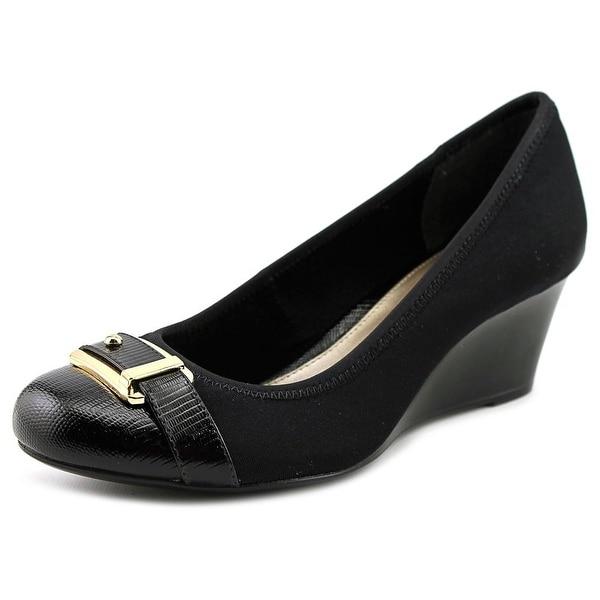 Alfani Tomina Women  Open Toe Canvas Black Wedge Heel