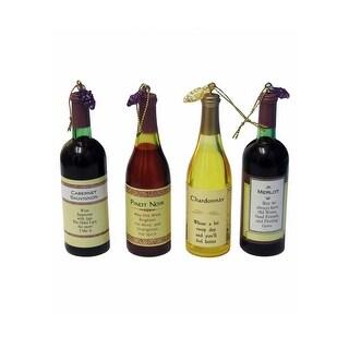 4 Pack Wine Bottle Ornament Set