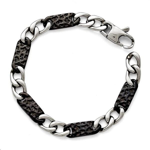 Chisel Stainless Steel Polished Black IP-plated Link Bracelet