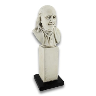 Ben Franklin Bust on Pedestal 10 in. - Off-white