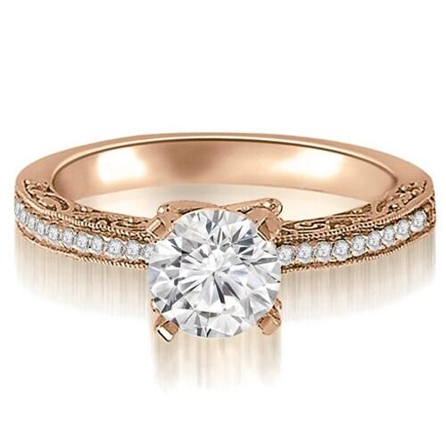 1.15 cttw. 14K Rose Gold Antique Milgrain Round Cut Diamond Engagement Ring