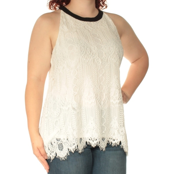88e6673eca63a Shop ALFANI Womens White Lace Sleeveless Crew Neck Top Size  XL - On Sale -  Free Shipping On Orders Over  45 - Overstock - 23451863