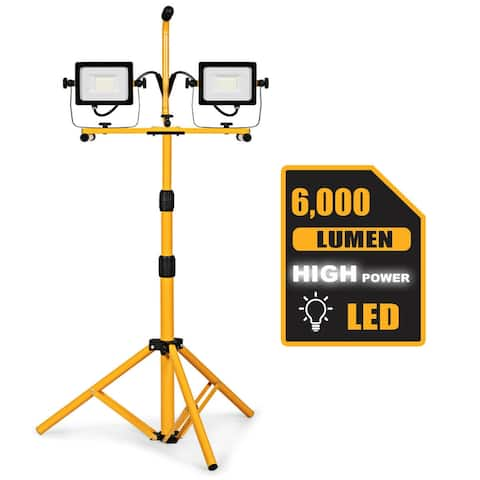 Costway 60W 6000lm Dual-Head LED Work Light w/ Adjustable Metal Tripod