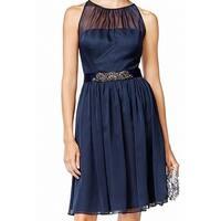 Adrianna Papell Blue Womens Size 6 Belted Chiffon Sheath Dress