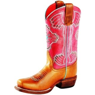 Macie Bean Western Boot Girls Southwest Aztec Classic Brown Red
