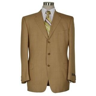 Joseph Abboud Signature Khaki Silk and Wool Sportcoat 46 Long Windowpane Blazer
