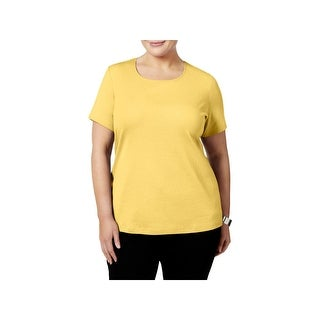 Karen Scott Womens Plus Casual Top Cotton Short Sleeves (4 options available)