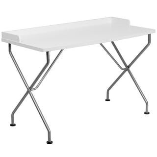 Malcom White Home/Office Computer Desk w/Silver Frame