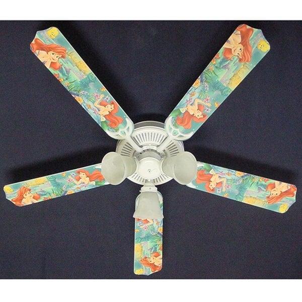 Disney's Little Mermaid Print Blades 52in Ceiling Fan Light Kit - Multi