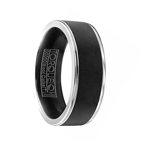 KANJI Torque Black Cobalt Flat Wedding Band Matte Finish Dual Grooved Edges by Crown Ring - 7 mm