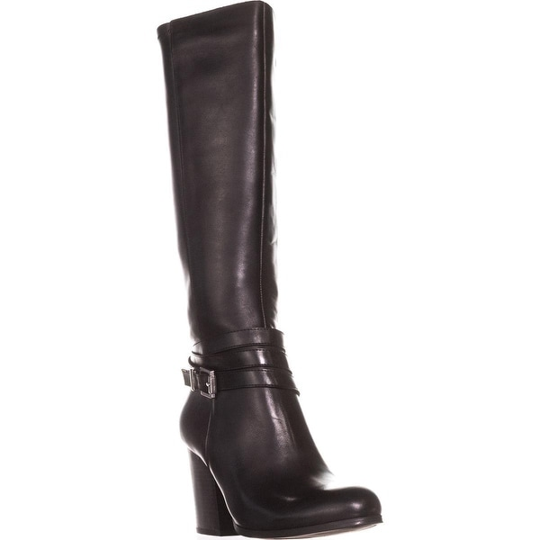 B35 Paisley Knee High Harness Dress Boots, Black
