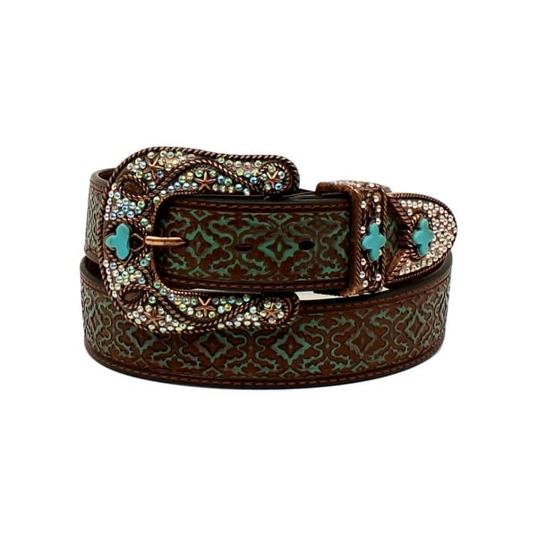 Nocona Western Belt Womens Embossed Diamonds Bling Brown