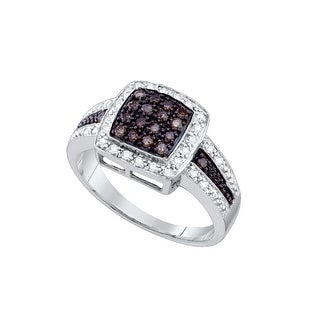 10k White Gold Cognac-brown Colored Diamond Womens Cluster Square-shape Cocktail Ring 1/2 Cttw - Brown
