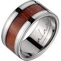 Titanium Wedding Band With Koa Wood Inlay & Silver Inlays 10mm - Thumbnail 0