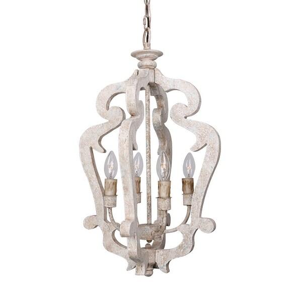 Distressed Wood Chandelier: Shop Lantern Distressed Antique White 4-Light Wood