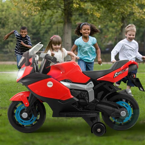 """6v red children can ride motor electric motorcycle w/ training wheels - 7'6"""" x 9'6"""""""