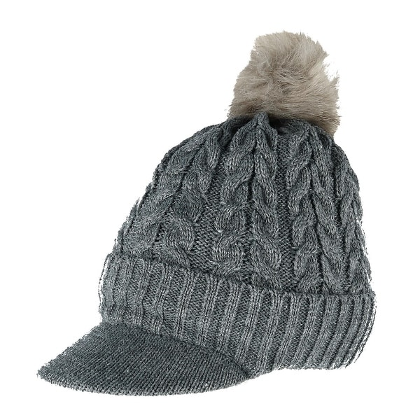 107dee17f Shop CTM® Women's Cable Knit Visor with Sherpa Lining and Faux Fur ...