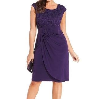 Connected Apparel NEW Purple Women's Size 22W Plus Sheath Lace Dress
