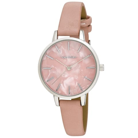 Vernier Womens Case Marble Dial Strap Watch