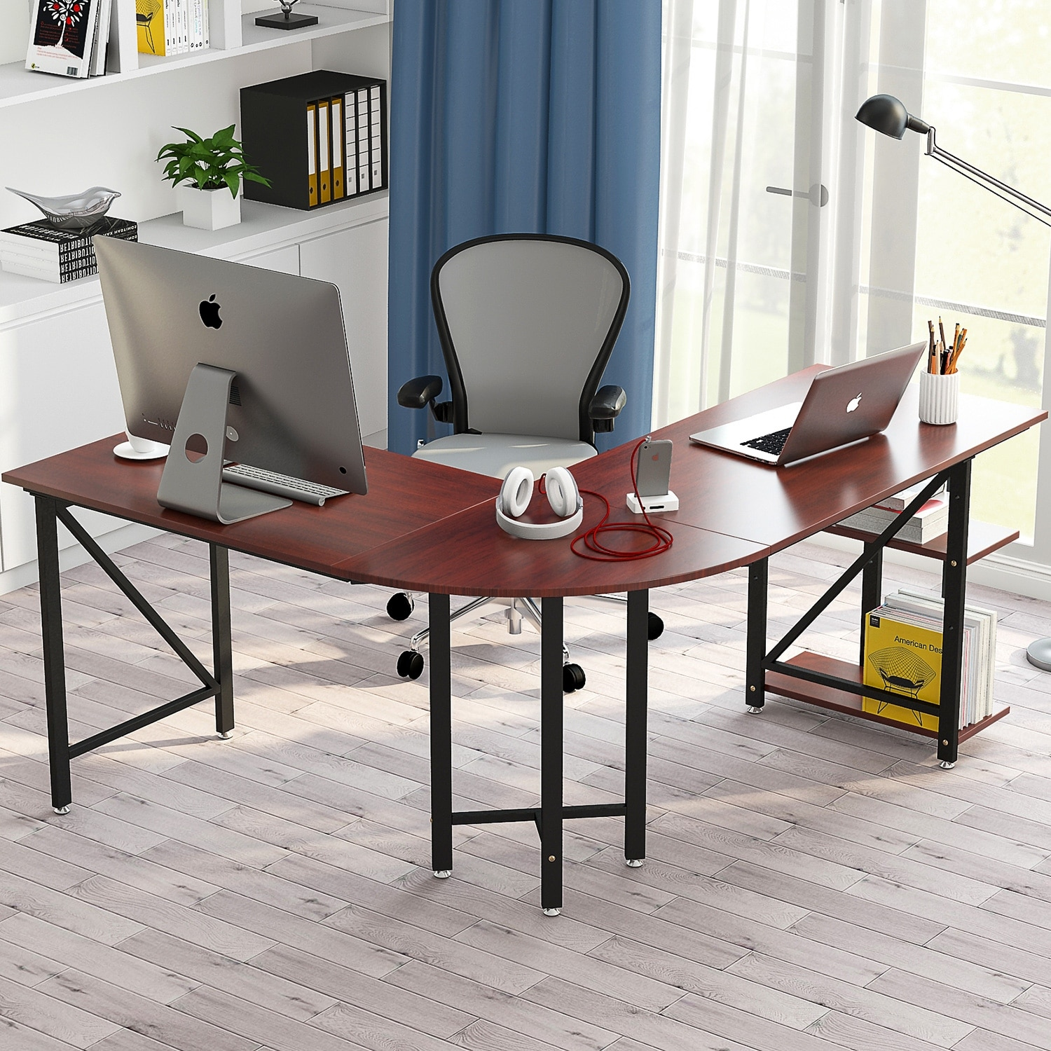 Large L Shaped Desk 67 Modern Corner Computer Study Workstation Gaming Table With Shelves For Home Office Free Shipping Today