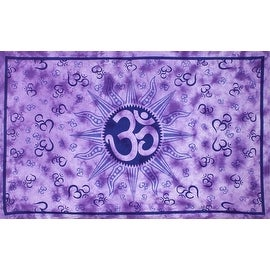 Handmade Cotton Om Sun Purple Tie Dye Indian Tapestry Tablecloth Spread 60x90
