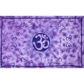 Handmade Cotton Om Sun Purple Tie Dye Indian Tapestry Tablecloth Spread 60x90