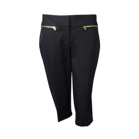 Alfani Women's Zip-Pocket Skimmer Stretch Capri Pants - Deep Black - 2