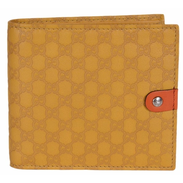 "Gucci Men's 282023 Yellow Leather Micro GG Guccissima Bifold Wallet W/Coin - 4.25"" x 4"""