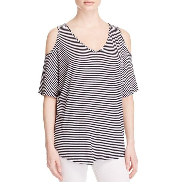 K&C Womens Pullover Top Striped Cold Shoulder