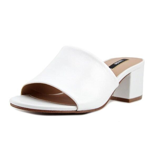 Kensie Helina Women Open Toe Leather White Slides Sandal