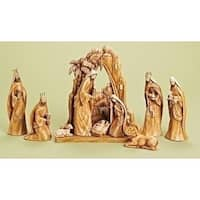 9-Piece Carved Inspirational Religious Nativity Scene Christmas Decoration - Brown