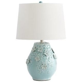 Cyan Design 5299 Eire 1 Light Table Lamp with Flower Ceramic Base - sky blue glaze