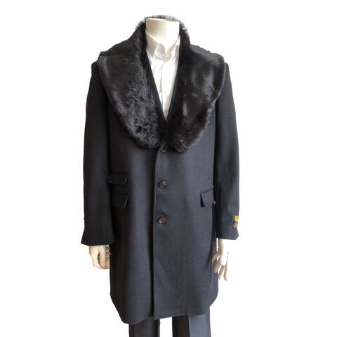 Mens Three Quarter Length Wool Car Coat with Removable Faux Fur Collar