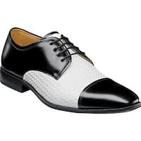 Stacy Adams Men's Forte Cap Toe Oxford 25180 Black/White Leather